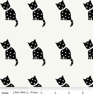 Riley Blake/J.Wecker Frisch Halloween Old Made Cat Stamp White Cotton Fabric