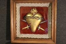 Skulptur, vergoldetes Herz Blut Christi kreuzende Säbel Collage Sacre Coer *5231