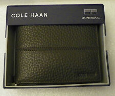 Mens Cole Haan Brown Pebbled Leather Billfold Slim Wallet NWT in Cole Haan Box