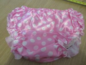 "ADULT BABY SISSY PINK POLKA DOT PATTERN FRILLY PANTS SIZE L LARGE 28""-33"" WAIST"