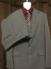 Men's Vintage JcPenney Contemporary 3pc Suit Gray Pinstripe 44R x 34 100% Wool