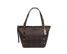 NWT Coach Signature Studded Lurex Tote Brown Shoulder Bag Handbags Purse F18796