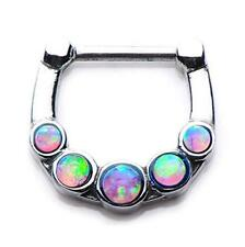 316l Opal Gem septum nose ring clicker body jewelry piercing prong ear lip w72