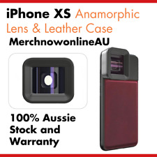iPhone XS Anamorphic Lens & Red Genuine Leather Case - Moment Lens Alternative