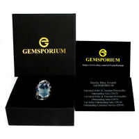 Gemsporium Brand 20 Ct+ Oval Swiss Blue Topaz Gems 925 Sterling Silver Ring 9.5