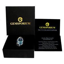 Gemsporium Brand 20 Ct+ Oval Swiss Blue Topaz Gems 925 Sterling Silver Ring 9.5