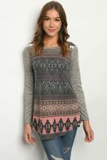 New USA Soft Fleece Long Sleeve Gray Geometric Western Tunic Top Sweater S-M-L