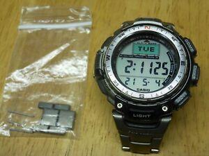 Casio Pro Trek PRG-40 Titanium Alti Baro Thermometer Compass LCD Watch 2271 Runs