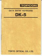 New Topcon DK-5 Data Entry Keyboard Instruction Manual