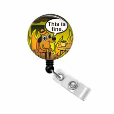 This is Fine Badge Holder Reel Name ID Pull Clip Dog Sitting in Flames Nurse