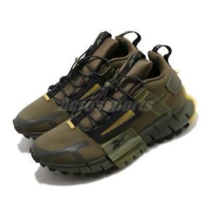 Reebok Zig Kinetica Edge Army Green Black Yellow Men Lifestyle Trail Shoe FV3836