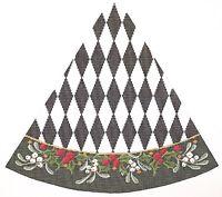 Needlepoint Handpainted Christmas KELLY CLARK Tree Black White HARLEQUIN Holly