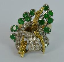 Beautiful Emerald and Diamond 14ct Gold Retro Cocktail Ring 1970's d0739