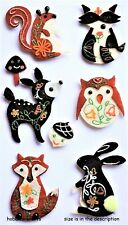 WOODLAND FELT ANIMALS Jolee's Boutique 3-D Stickers Rabbit Squirrel Deer Fox Owl