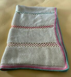 Afghan Crochet Blanket Throw Handmade 60x40 Pinks and Green