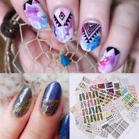 3x 3D Nail Stickers Water Decals Geometry Dreamcatcher Nail Art Transfers Random