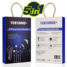 Dual Wall Charger, Dual Car Charger, 2X Micro USB cable, Earphones 5 in 1 Bundle