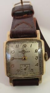 Whittenauer men's wristwatch yellow gold filled raised gold numbers