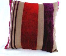 Modern sleek Red purple velvet soft Stripes cushion covers 16'' square BN