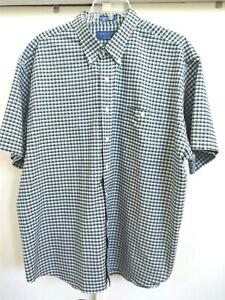 Towncraft XXL Wrinkle Free Green White Plaid Short Sleeve Button Down Shirt
