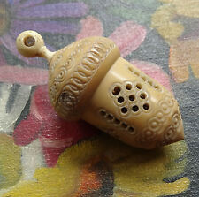 antique Victorian carved bone thimble holder fancy acorn & stanhope french -C797