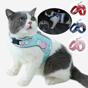 Cat Leash & Harness Set Harness with Identity Card Mesh Vest Walking Lead Leash