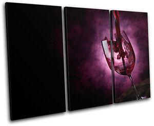 Wine Glass Food Kitchen TREBLE CANVAS WALL ART Picture Print VA