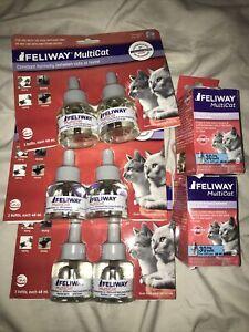 New Feliway MultiCat Diffuser Refills - 48 ml each - 8 Refills Total