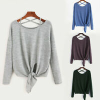 Women's Tie Up Long Sleeve T-Shirt Ladies Loose Tops Blouse Pullover Sweatshirts