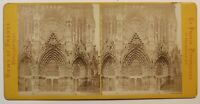 Reims Portail Da La Cattedrale Francia Foto Stereo Vintage Albumina c1870