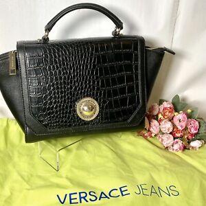 VERSACE JEANS E1VOBBD1 Croc Embossed Top Handle Trapeze Satchel / Handbag