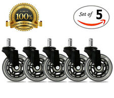 "Universal Office Chair Caster Wheels Set of 5 Heavy Duty and Safe 3"" Rollerblade"