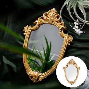 Resin Vintage Gold Frame Hanging Wall Mirror Home Nordic Relief Decor Mirror