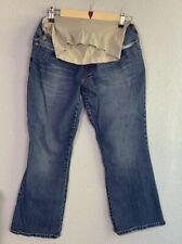 Motherhood Maternity petite small jeans flare cut full waist panel medium wash