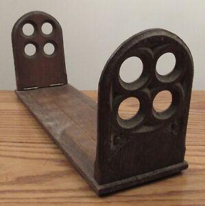 """Vintage carved oak wood Gothic revival adjustable bookshelf book ends 16-22"""""""