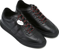 Hogan H365 Men's fashion round toe trainers shoes black leather with red laces