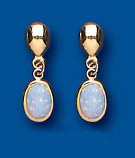 Echter Edelsteine-Ohrschmuck aus Gelbgold mit Opal und Tropfen
