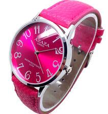 073o Damen Mode Vantage Stil Armbanduhr pink Lederarmband Quarz Zifferblatt
