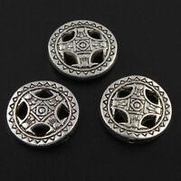 15 Metallperlen 14mm Tibet Silber Flach Rund Zwischenteile Spacer für Schmuck F9