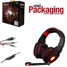EACH G4000 Pro Game Gaming Headset 3.5mm LED Stereo PC Headphone Microphone Red
