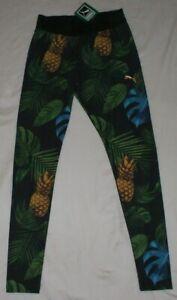 Puma Pineapple Pattern Statement Leggings Pants Size L Tights Tight Activewear