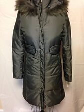 Via Spiga Down Broncio Fur Trim Coat XS Grey  New w/ Defects