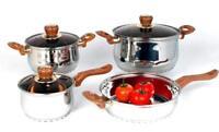 """7 Pieces Stainless Steel Cookware Set (2qt 2.8qt 6.4qt Pot and 9.4""""qt)"""