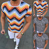 Fashion Men Striped Slim Fit T-Shirt Gym Sport Muscle Fitness Summer Casual Tops