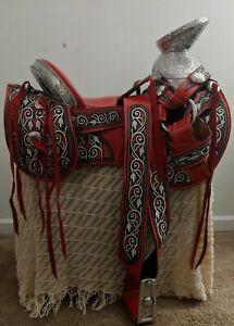 Mexican Charro Horse Saddle Leather Silla de Montar Fuste Embroidered