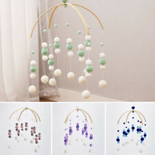 Rotary Baby Cot Mobile Crib Bed Toy Wind-up Wooden Beads Infant Bell DIY Hanging