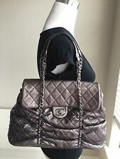 Auth CHANEL Metallic Gray Sharpei Lambskin Quilted Flap Bag Silver CC Chain Tote