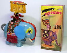 Vintage Red China Tin Me 776 # B/O Monkey on Elephant with Original Box !