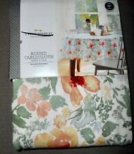 """NEW THRESHOLD SAGE PEACH IVORY FLORAL ROUND TABLECLOTH  70""""  Seats 4 to 6"""