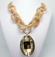 Vintage Style Golden Bib Circle Topaz Pendant Art Deco Statement Necklace